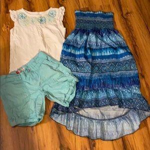 Aqua shorts, tank top, and sundress